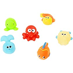 SuperToy(TM) 6 New Designed Rubber Sqeeze-sounding for Baby Bath Time Fun Toy