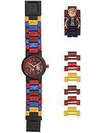 LEGO Jurassic World 8021261 Owen Kinder-Armbanduhr mit Minifigur und Gliederarmband zum Zusammenbauen| blau/schwarz| Kunststoff| Gehäusedurchmesser 25mm| analoge Quarzuhr| Junge/Mädchen| offiziell