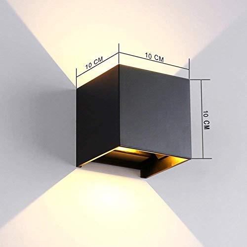 TVGO – Lampada da parete per interni/esterni, moderna, illuminazione LED da parete con angolo di irradiazione regolabile, IP 65, impermeabile, 3000 K, luce bianca calda (7W nero), alluminio, 7 W - 2