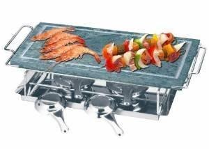 Pietra ollare set 5 pezzi cm.19x37 bistecchiera grill da tavolo con 2 fornellini