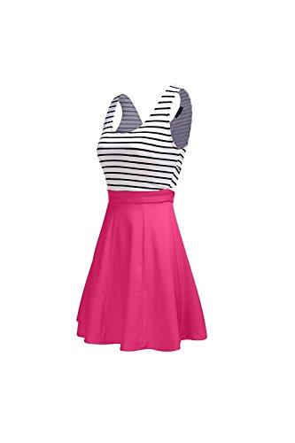 Des années 1940 Vintage Stripes Colorblock Patchwork femmes Swing Party Dress Rose