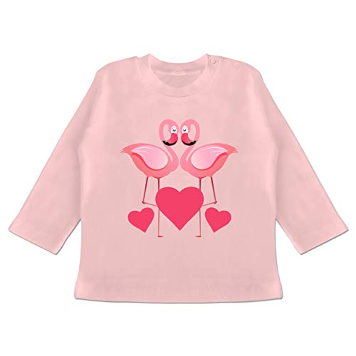 Anlässe Baby - Valentinstag Flamingos - 18-24 Monate - Babyrosa - BZ11 - Baby T-Shirt Langarm