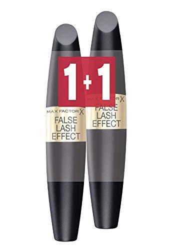 max factor coppia di mascara false lash effect effetto ciglia finte, applicatore volumizzante e allungante, black/nero, 2 x 13 ml