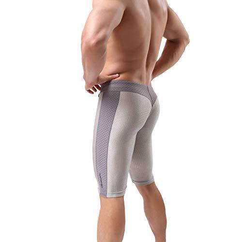 MuscleMate Herren Skin Tight Badeshorts Herren Badehose Jammers, Hot Men Kompressionshose für Gym Workout - Grau - Small - Stammes-schwimmen-bekleidung