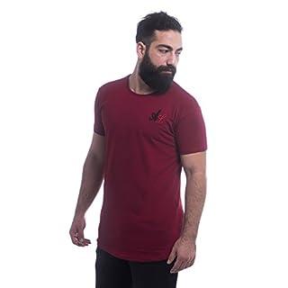 ArmoLine Men's Longline T-Shirt Short Sleeve Hip Hop Curved Hem (X Large, Maroon)