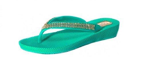 Flip-Flop/Sandalen für Damen, Keilabsatz, flach, für Sommer/Strand/Abend, Zehensteg Jade