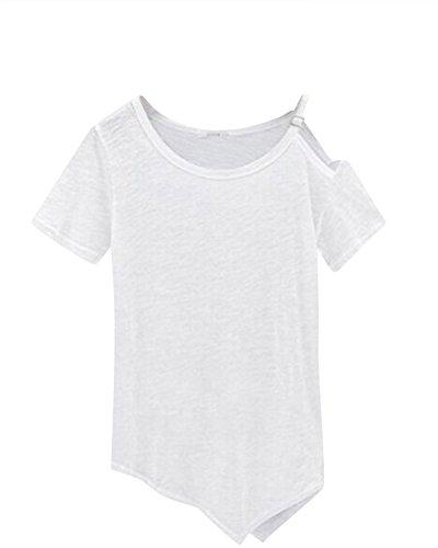 Femme Col Rond Couleur Pure Blouse Manche Courte Irrégulier T-Shirt Blanc
