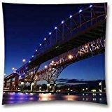 "Generic Cotton Polyester Square Throw Pillow Case Decorative Cushion Cover Pillowcase for Sofa Bridge To Usa America River Nature City 18 ""X18 """