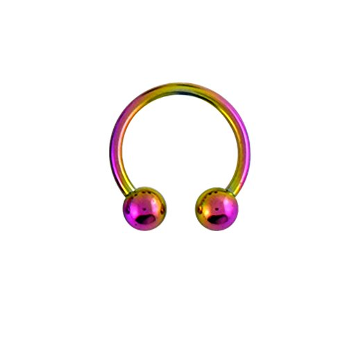 14 Gauge - 10 MM Länge Rainbow eloxiert G23 Grade massivem Titan Circular Barbell mit Kugel Septum Piercing