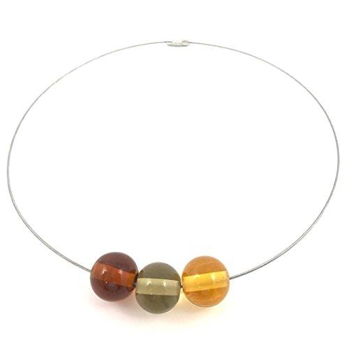 Halsreif mit Glas-Perlen aus Murano-Glas in Amber-Tönen | Unikat personalisiert handgemacht| Personalisiertes Geschenk für sie zu Valentinstag Jahrestag Hochzeit Geburtstag Weihnachten Mama| amber