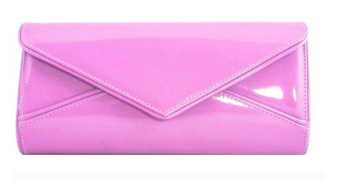 girly-handbags-donna-nuda-rosa-vernice-signore-busta-media-lucido-festa-pochette-borsetta-da-sera