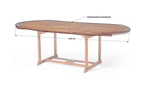 Grasekamp Gartentisch Tischplatten Abdeckung 160x90cm oval Gitter Schutzhülle Plane Abdeckplane