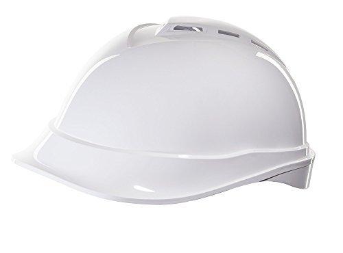 MSA V-Gard 200 Helm EN397 mit Belüftung und Drehradregelung FasTrack - Bauarbeiterhelm Arbeitshelm Schutzhelm Baustellenhelm, Farbe: weiss