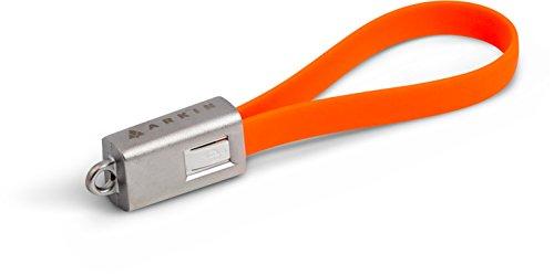 ARKIN ChargeLoop - Schlüsselanhänger USB 2.0 Ladekabel/Datenkabel Micro USB - Flachkabel fürs Smartphone/Handy z.b. Samsung Galaxy Edge, HTC, Huawei, Sony usw. - Mobiles Akkukabel für Schlüsselbund (orange)