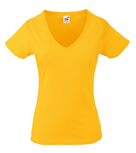 Fruit of the loom lady-fit t 61–398–0 valueweight et col en v pour femme Jaune - Sunflower