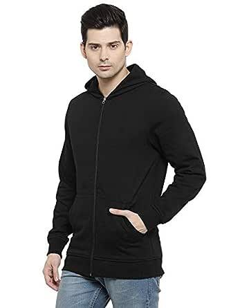 Biluniya Creations Cotton Plain Full Sleeves Zipper Sweatshirt Jacket with Hoodies for Mens with Front Pocket (Black, Medium)