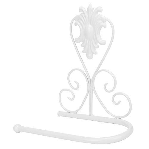 Pomya Portarrollos de Papel higiénico, Estante de pañuelos de Estilo Vintage montado en la Pared Toallero de Ahorro de Espacio para Cocina Baño(Blanco)
