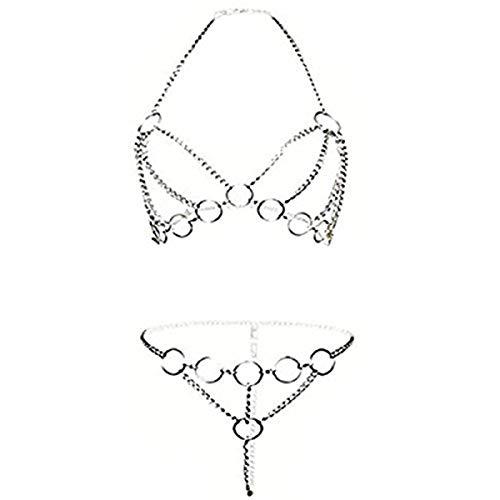 Set,Damen-Bodysuit,Aushöhlen Spaß Unterwäsche, Offenen Schritt Perspektive Geschirr Iron Chain Versuchung Nachtwäsche Tassel Babydoll Pyjamas (Style-B) ()