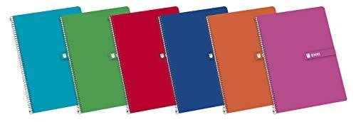 Enri - confezione da 5 quaderni a spirale 100430066, copertina rigida, f