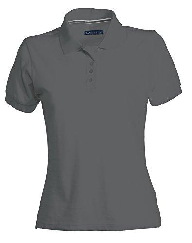 PAYPER Damen Polohemd Venice 100% Baumwolle Kurzarm 4 Knöpfe Nackenband, Farbe:Ash;Größe:M