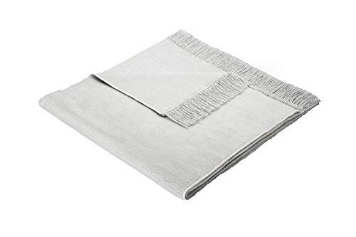 Biederlack Sesselschoner, 60% Baumwolle, Mit Fransen, 50 x 200 cm, Silbergrau, Cotton Cover Silber,...
