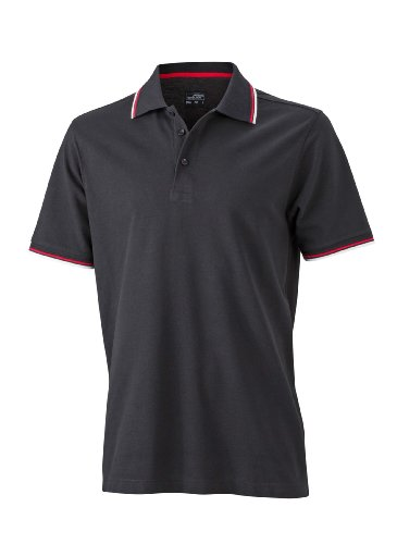 Herren Sonnenschutz-Polo (Coldblack® Polo) Black/White/Red