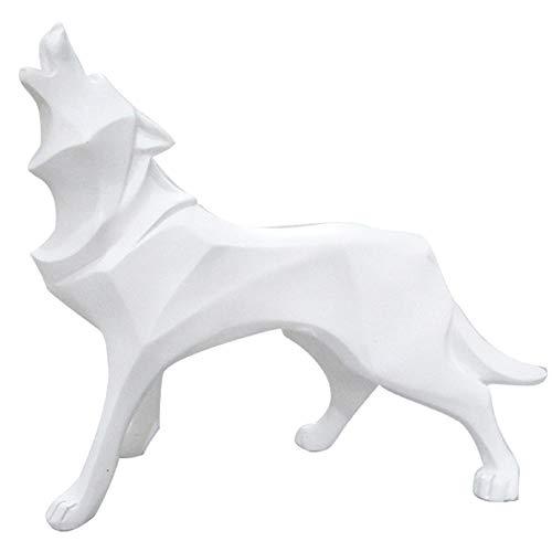 Escultura resina artesanal totem lobo decoración