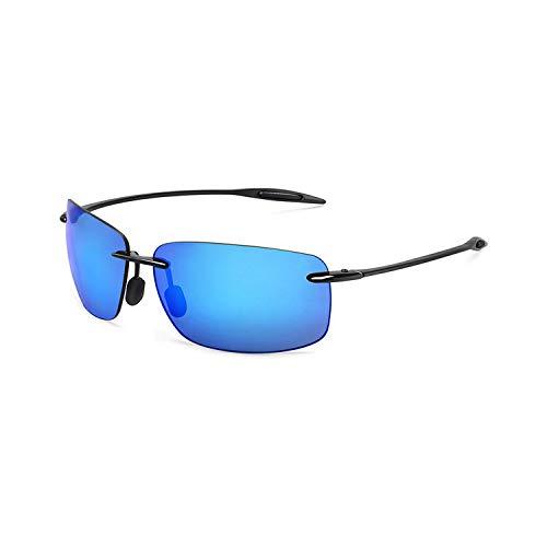 Sportbrillen, Angeln Golfbrille,JULI Classic Sports Sunglasses Men Women Male Driving Golf Rectangle Rimless Ultralight Frame Sun Glasses UV400 De Sol MJ8009 C3 Black Blue