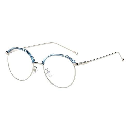 Hzjundasi Unisex Koreanisch Lichtweigth Unisex Damen Männer Metall TR90 Rahmen Kurz Entfernung Kurzsichtig Kurzsichtigkeit Brille (Stärke -1.0, Blau) (Diese sind nicht Lesen Brille)