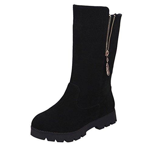 Stiefel Damen Winter Btruely Herbst Schuhe Mode Mädchen Martin Schuhe Frauen Weiche Imitat Warme Ritterstiefel Flach Stiefel (Schwarz, 38)