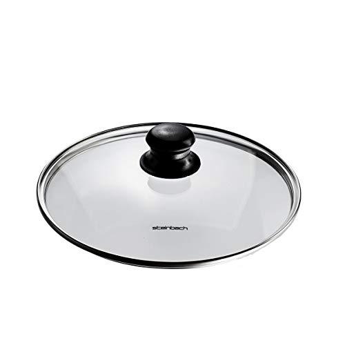 Steinbach Glasdeckel | Ø 24 cm | Dampfabzugsöffnung | Edelstahlring | spülmaschinengeeignet | ofengeeignet bis max. 180 °C | Deckel für Topf + Pfanne