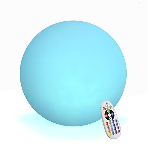 LED Kugelleuchte, Wiederaufladbare Nachtlicht, Mit 16 Dimmbaren Farben und 4 Modi, Wasserdichte Stimmungslampe Mit Fernbedienung, Ideal für Schlafzimmer, Pool, Dekorative Beleuchtung (20cm)
