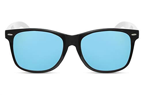 Cheapass Sonnenbrille Verspiegelt Schwarz Blau Weiß UV-400 Zweifarbig Plastik Unisex