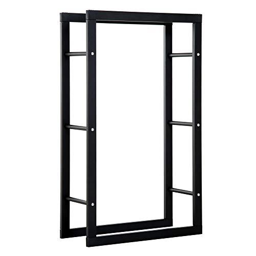 homcom Scaffale Porta Legna Legnaia Verticale Supporto per Legna Portata 100kg Metallo 60 × 25 × 100