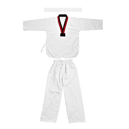 Kampfsportanzug Weiß Erwachsene Kinder Taekwondo Anzug Uniform, voller Baumwolle Tai Chi Taekwondo Kleidung Anzug Uniform Sportwear Martial Arts Karate Kostüm für Erwachsene & Kinder(120)