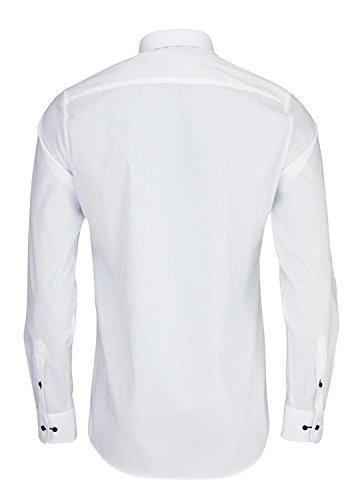 eterna Herren Businesshemd Slim Fit Langarm Uni mit Hai-Kragen Weiß