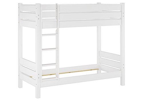 Erst-Holz® Etagenbett extra stabil 100x200 Nische 100 Kiefer-Hochbett weiß ohne Zubehör 60.16-10 W oR -