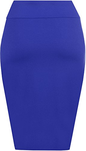 WearAll - Midi Jupe Crayon Moulant Elastiquée Uni avec Taille Haute - Jupes - Femme - Tailles 36-42 Bleu royal