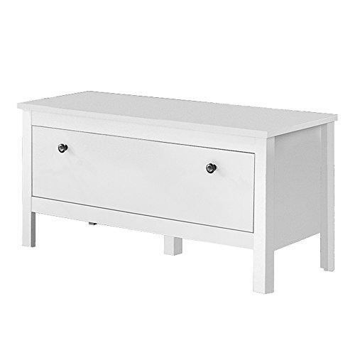 trendteam Garderobe Sitzbank Schrank Schuhschrank Ole, 91 x 45 x 35 cm in Weiß mit viel Stauraum