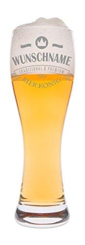 Leonardo Weizenglas mit Gravur - Bierkönig - Personalisiert Namen & Geburtsjahr - Geschenk für Papa auch als Vatertagsgeschenk 0,5l Bierglas Weizenbierglas als Geburtstagsgeschenk für Männer
