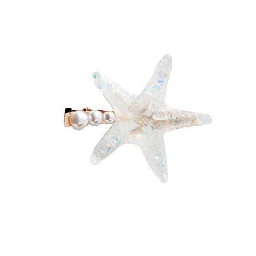bulingLU - Ocean Style Frauen Transparent Seestern Acryl Haarklammer Sommer Strand Hologramm Schimmernder Haarnadel Kunstperle Hochzeit Haarspange