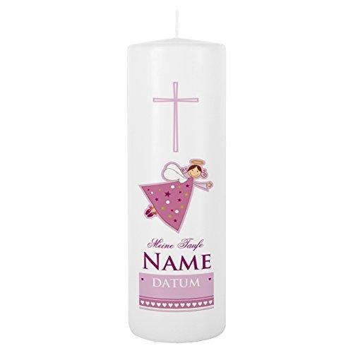Striefchen Taufkerze rosa für Mädchen mit Schutzengel inkl. Gratis Beschriftung 25x8 cm Weiß