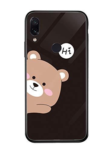 Fantasyqi Handyhülle Kompatibel mit Xiaomi Mi A2 / Xiaomi Mi 6X Hülle 9H Gehärtetes Glas + Hartplastik Zurück + Premium Bumper Silikon(TPU) Stoßfest Schale Kratzfest Ultradünn Design Schwarz Bär