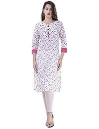 FASHION CLOUD Women's Cotton Kurta(White)