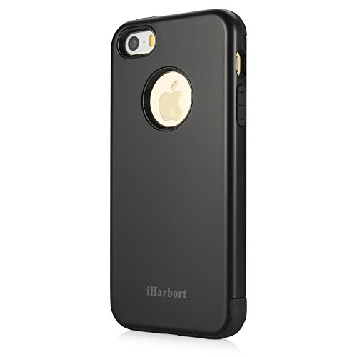 iPhone 5S SE Hülle - iHarbort® beschützend Apple iPhone 5 5S SE Hülle Tasche Case Cover Schutzhülle Kombinationsabdeckung Combo (weiche TPU Zwischenlage + Hartplastikschale), schwarz schwarz
