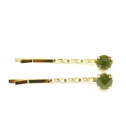 rougecaramel - Accessoires cheveux - Mini pince fantaisie métal doré 2pcs - vert