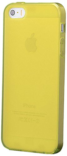 iCues Apple iPhone SE / 5S / 5 |  TPU Matt Case mit Stöpsel Gelb | [Display Schutzfolie Inklusive] Transparent Klarsichthülle Durchsichtig Klare Klarsicht Silikon Gel Schutzhülle Hülle Cover Schutz