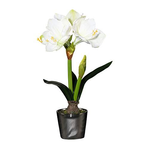 Homefinity Amaryllis im Silbertopf 47 cm weiß Ritterstern Kunstblume Dekopflanze