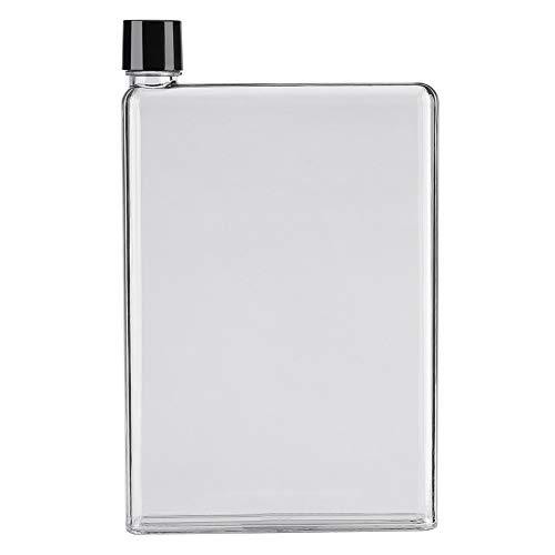 750 ml A5 Portable elegante trasparente riutilizzabile bottiglia d'acqua, Contenitori per succo piatto da 750 ml A5 a prova di perdite
