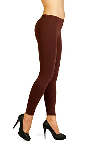 Futuro Fashion Winter Style Full Length Very Warm Thick Heavy Cotton Leggings (Fleece Inside) Sizes 8-22 P28 Brown 20/22 UK (XXXL)